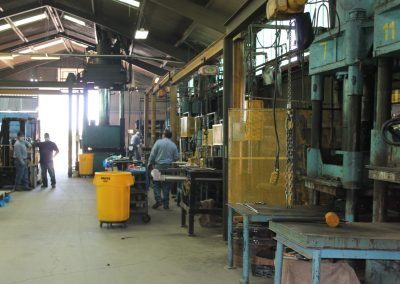Industrial rubber products being manufactured