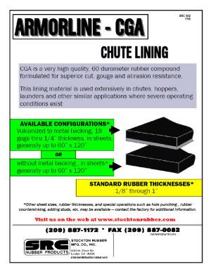 Armorline CGA Chute Lining Product Info