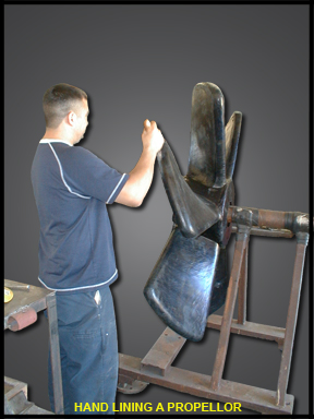 Hand lining a propeller